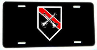 Two Crossed Horn Fireman Firefighter Aluminum License plate