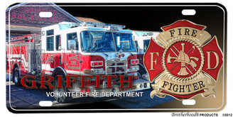 Griffith Volunteer Fire Department Aluminum License plate