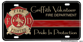 Griffith Volunteer Fire Dept. Pride In Protection Aluminum License plate
