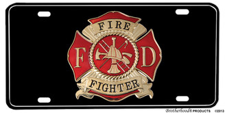 Black Firefighter Maltese Cross Aluminum License plate