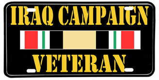 Iraq Campaign Veteran Aluminum License plate