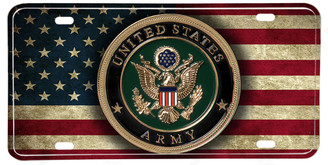 Distressed American Flag US Army Emblem License plate