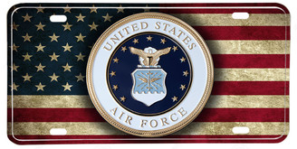 Distressed American Flag US Air Force Emblem License plate