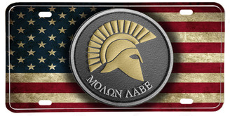 Distressed American Flag Molon Labe License plate