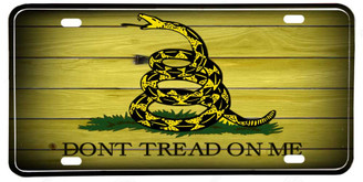 Don't Tread On Me Rattlesnake Aluminum License plate