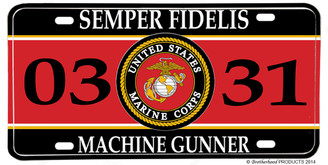 US Marines MOS 0331 Machine Gunner License plate