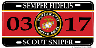 US Marines MOS 0317 Scout Sniper License plate