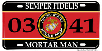 US Marines MOS 0341 Mortar Man License plate