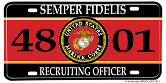 US Marines MOS 4801 Recruiting Officer License plate