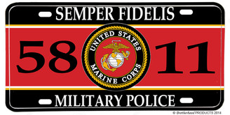 US Marines MOS 5811 Military Police License plate