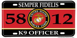 US Marines MOS 5812 K9 Officer License plate