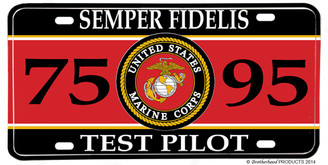 US Marines MOS 7595 Test Pilot License plate