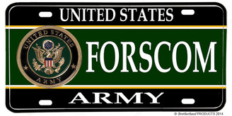 US Army FORSCOM Aluminum License plate