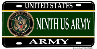 US Army Ninth US Army Aluminum License plate