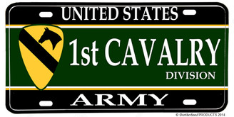 US Army 1st Cavalry Division Aluminum License plate