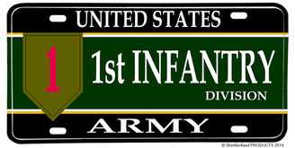 US Army 1st Infantry Division Aluminum License plate