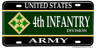 US Army 4th Infantry Division Aluminum License plate