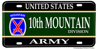 US Army 10th Mountain Division Aluminum License plate