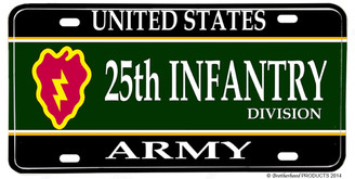 US Army 25th Infantry Division Aluminum License plate