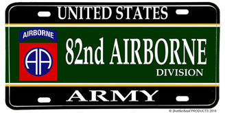 US Army 82nd Airborne Divison Aluminum License plate