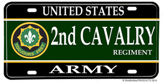 US Army 2nd Cavalry Regiment Aluminum License plate