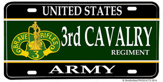 US Army 3rd Cavalry Regiment Aluminum License plate