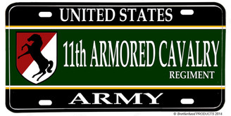 US Army 11th Armored Cavalry Regiment Aluminum License plate