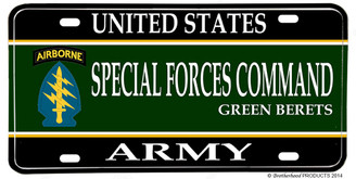 US Army Special Forces Command Green Berets License plate