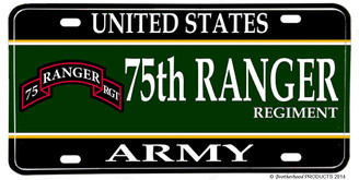 US Army 75th Ranger Regiment Aluminum License plate