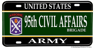 US Army 95th Civil Affairs Brigade Aluminum License plate