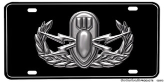 Military Basic EOD Emblem Aluminum License plate