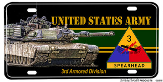 US Army Spearhead 3rd Armored Division Aluminum License plate