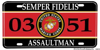 US Marine Corps MOS 0351 Assaultman Aluminum License plate
