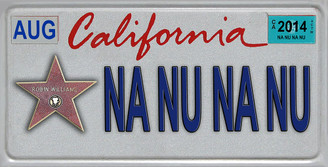 Robin Williams Na Nu Na Nu Aluminum License plate