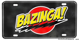 Big Bang Theory Distressed Bazinga Saying License plate