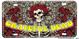 Grateful Dead Skull & Roses Aluminum License plate