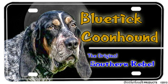 Bluetick Coonhound Southern Rebel License plate