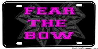 Cheer Sport Cheerleader Fear The Bow Aluminum License plate