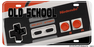 Old School Nintendo Game Controller Aluminum License plate