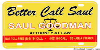 Better Call Saul Yellow & Red Aluminum License plate