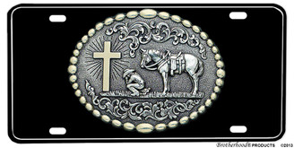 Praying Cowboy at Cross with Horse Aluminum License plate
