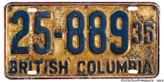 1935 British Columbia Reproduction Aluminum License plate