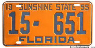 1955 Sunshine State Florida Reproduction Aluminum License plate