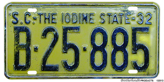 1932 SC The Iodine State Reproduction Aluminum License plate