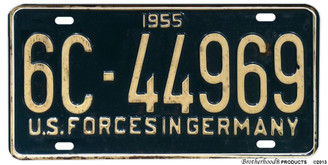 1955 US Forces In Germany Reproduction Aluminum License plate
