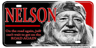 Willie Nelson On The Road Again Aluminum License plate