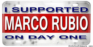 I Supported Marco Rubio On Day One Aluminum License plate
