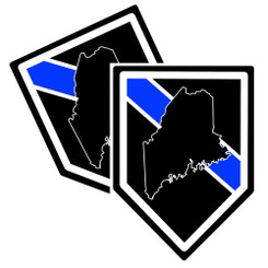 State of Maine Thin Blue Line Police Decal (Sticker) - Pack of 2 Decals