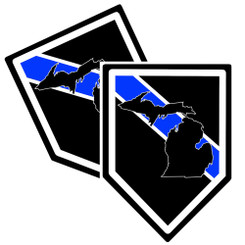 State of Michigan Thin Blue Line Police Decal (Sticker) - Pack of 2 Decals