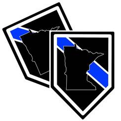 State of Minnesota Thin Blue Line Police Decal (Sticker) - Pack of 2 Decals